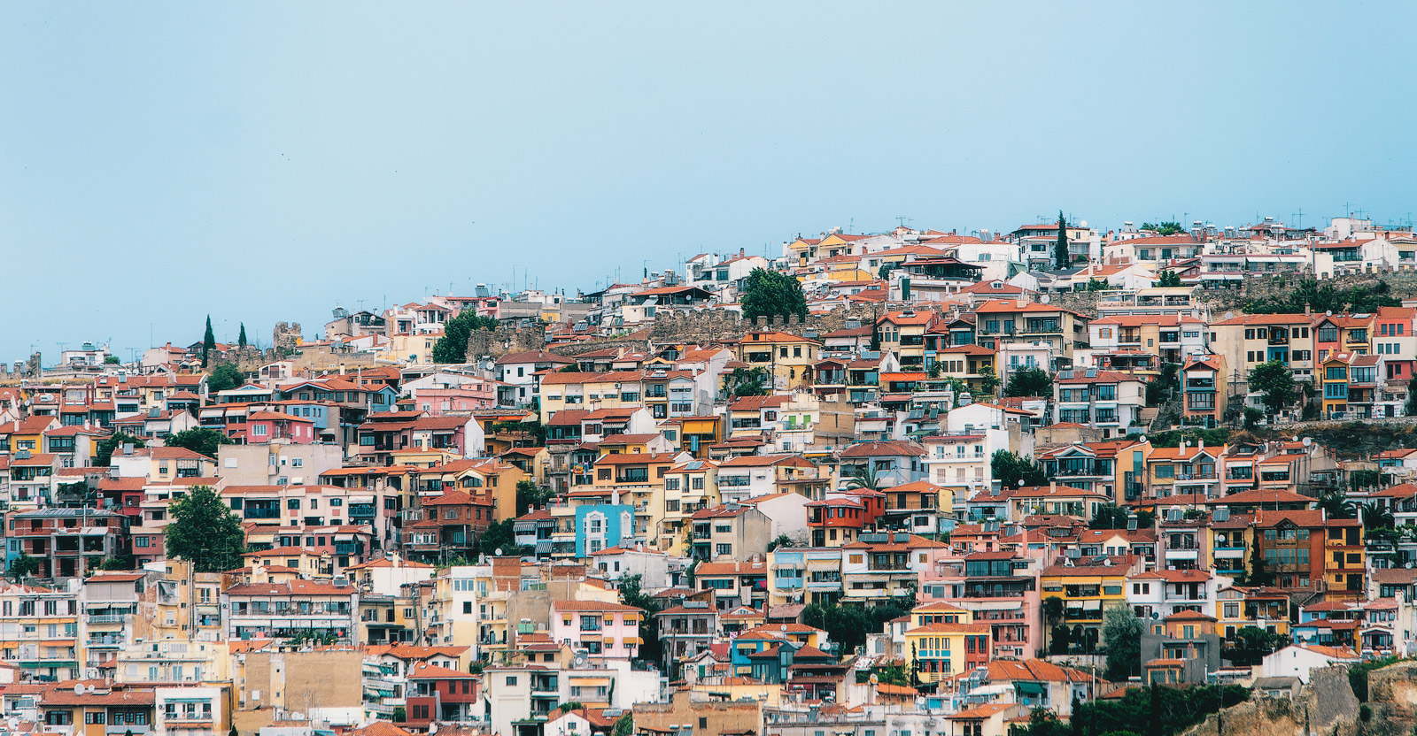 Aerial panoramic view of the colorful Thessaloniki city